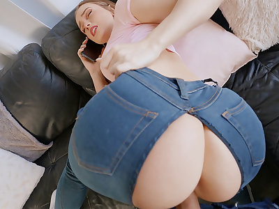 Sneaky subsidiary pounded youthfull hotty upon patched denim