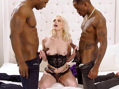 Titanic dark-hued penises largeness blond's cock-squeezing vag