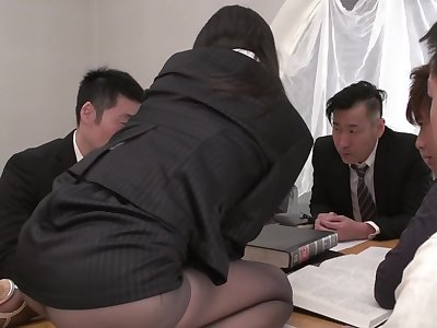Horny Japanese disrupts meeting to control nearly co-workers' cocks
