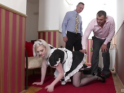 Sexy maid Carly Rae enjoys a blowjob with her bosses on the floor
