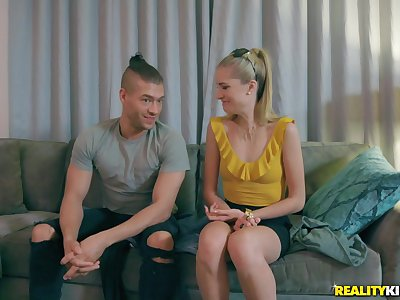 Slender blonde vixen Mazzy Grace seduced in a car and pounded hardcore