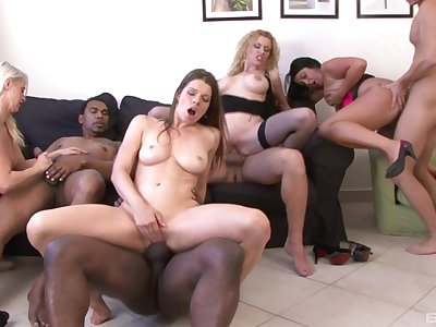 Mature Colette and her classy girls swallow cum in a hardcore orgy