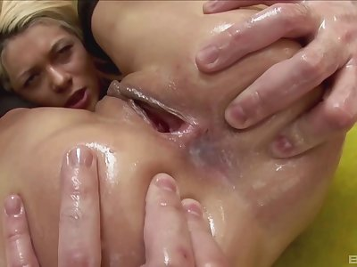 Hardcore anal creampie after an intense doggy style fuck