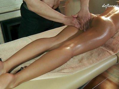 Libidinous fresh Masha Roofkina gets her pussy massaged and fully satisfied