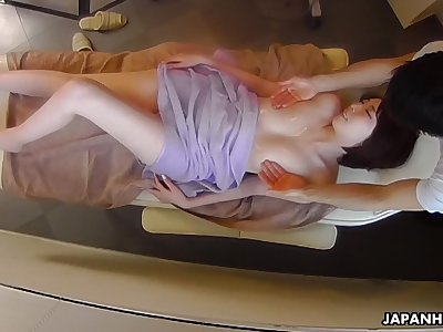 Erotic oily massage for Japanese son Aya Kisaki ends up with cunnilingus